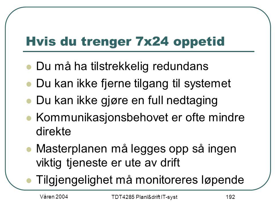 Våren 2004 TDT4285 Planl&drift IT-syst 192 Hvis du trenger 7x24 oppetid Du må ha tilstrekkelig redundans Du kan ikke fjerne tilgang til systemet Du ka
