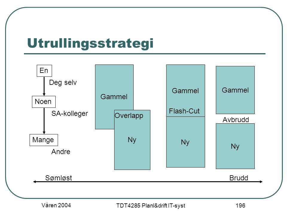 Våren 2004 TDT4285 Planl&drift IT-syst 196 Utrullingsstrategi En Noen Mange Deg selv SA-kolleger Andre Gammel Ny Overlapp Gammel Ny Avbrudd SømløstBru