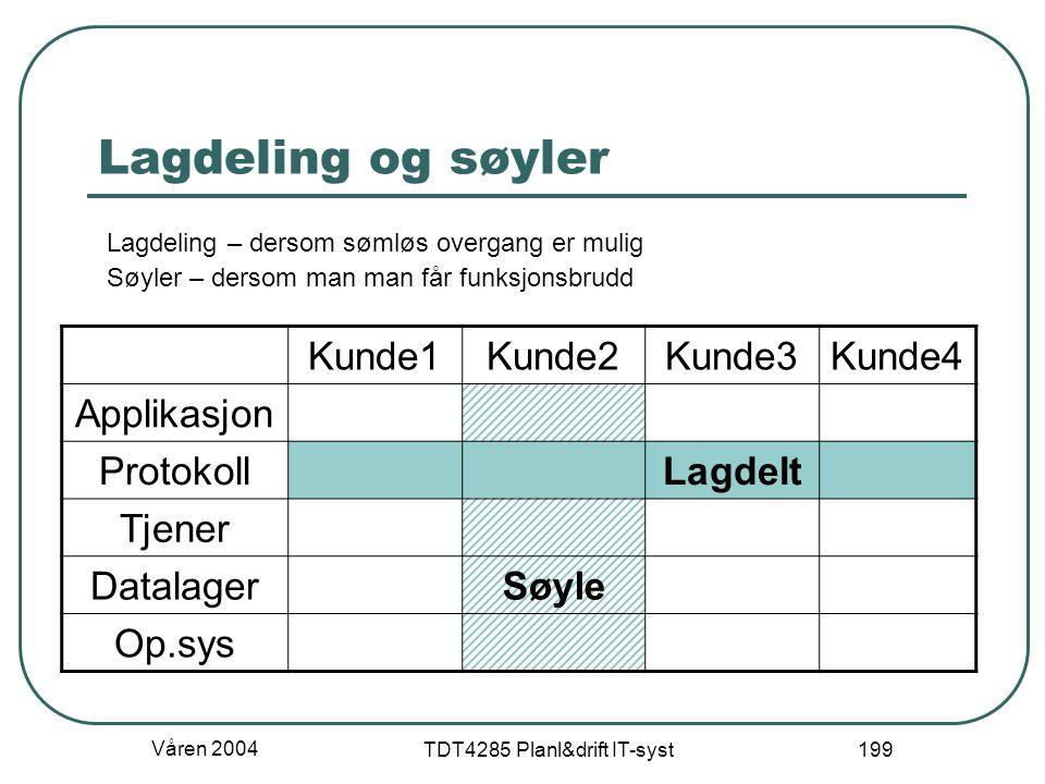 Våren 2004 TDT4285 Planl&drift IT-syst 199 Lagdeling og søyler Kunde1Kunde2Kunde3Kunde4 Applikasjon ProtokollLagdelt Tjener DatalagerSøyle Op.sys Lagd