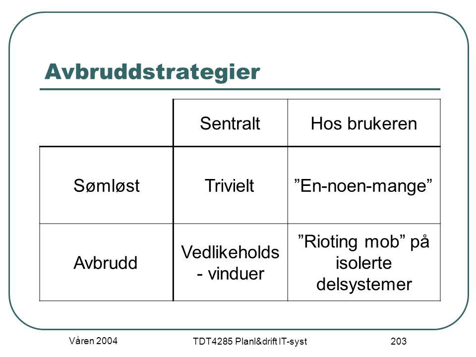 """Våren 2004 TDT4285 Planl&drift IT-syst 203 Avbruddstrategier SentraltHos brukeren SømløstTrivielt""""En-noen-mange"""" Avbrudd Vedlikeholds - vinduer """"Rioti"""