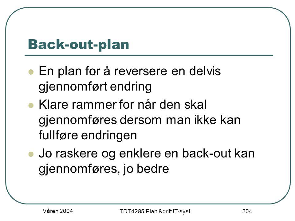 Våren 2004 TDT4285 Planl&drift IT-syst 204 Back-out-plan En plan for å reversere en delvis gjennomført endring Klare rammer for når den skal gjennomfø