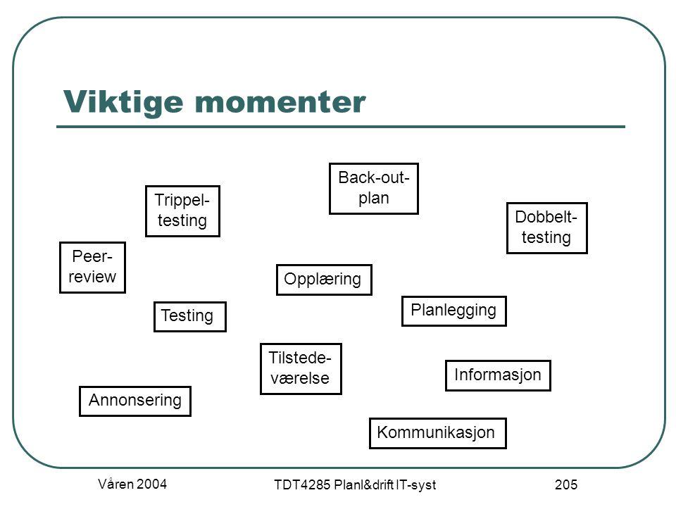 Våren 2004 TDT4285 Planl&drift IT-syst 205 Viktige momenter Opplæring Testing Dobbelt- testing Trippel- testing Planlegging Back-out- plan Tilstede- v