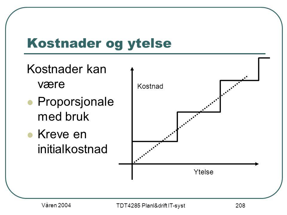 Våren 2004 TDT4285 Planl&drift IT-syst 208 Kostnader og ytelse Kostnader kan være Proporsjonale med bruk Kreve en initialkostnad Ytelse Kostnad