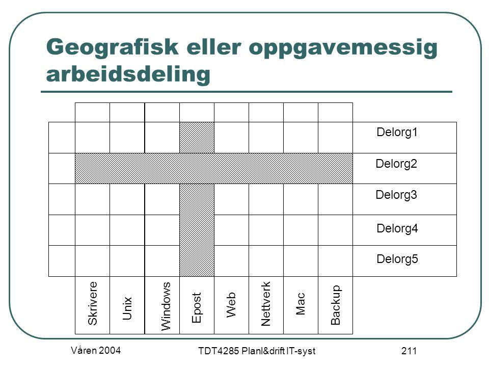 Våren 2004 TDT4285 Planl&drift IT-syst 211 Geografisk eller oppgavemessig arbeidsdeling Delorg1 Delorg2 Delorg3 Delorg4 Delorg5 Skrivere Unix Windows