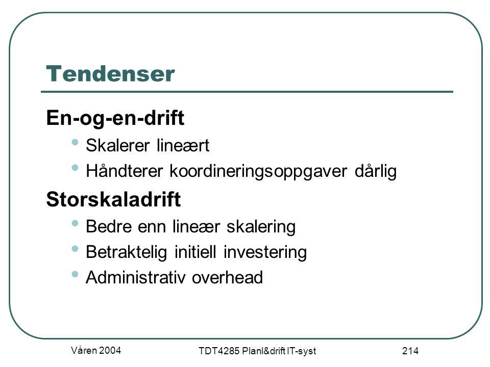 Våren 2004 TDT4285 Planl&drift IT-syst 214 Tendenser En-og-en-drift Skalerer lineært Håndterer koordineringsoppgaver dårlig Storskaladrift Bedre enn l