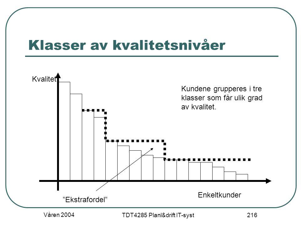Våren 2004 TDT4285 Planl&drift IT-syst 216 Klasser av kvalitetsnivåer Kvalitet Enkeltkunder Kundene grupperes i tre klasser som får ulik grad av kvali