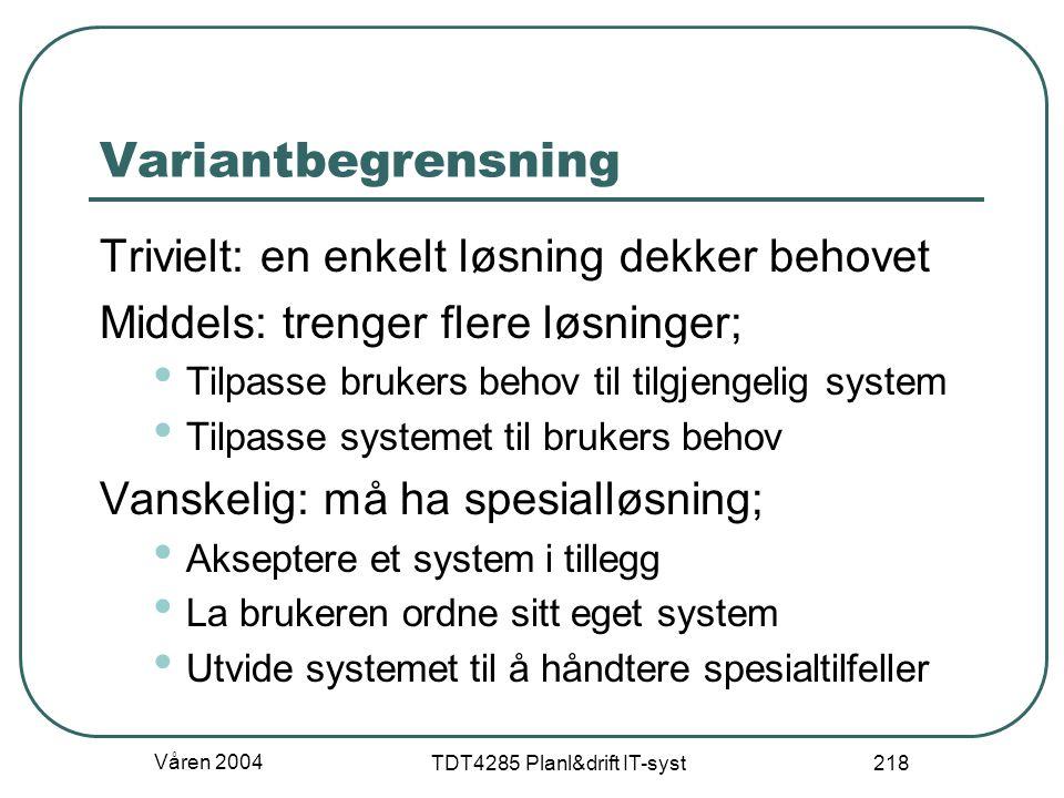 Våren 2004 TDT4285 Planl&drift IT-syst 218 Variantbegrensning Trivielt: en enkelt løsning dekker behovet Middels: trenger flere løsninger; Tilpasse br