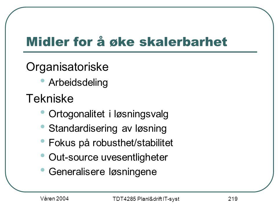 Våren 2004 TDT4285 Planl&drift IT-syst 219 Midler for å øke skalerbarhet Organisatoriske Arbeidsdeling Tekniske Ortogonalitet i løsningsvalg Standardi