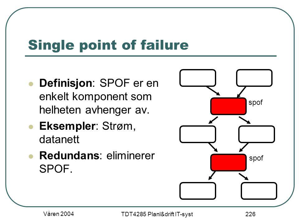 Våren 2004 TDT4285 Planl&drift IT-syst 226 Single point of failure Definisjon: SPOF er en enkelt komponent som helheten avhenger av. Eksempler: Strøm,