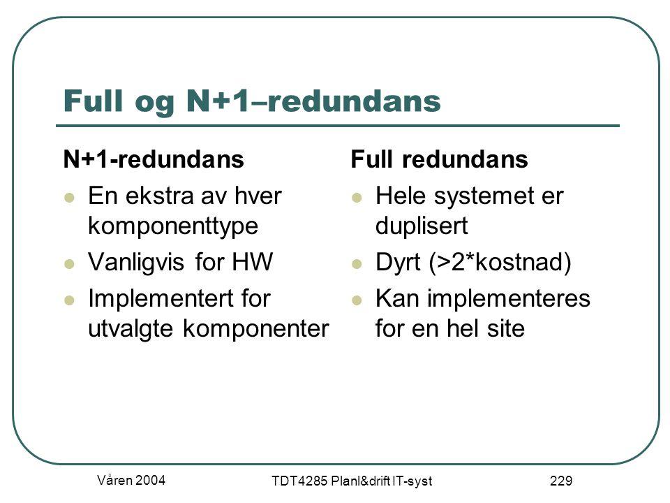 Våren 2004 TDT4285 Planl&drift IT-syst 229 Full og N+1–redundans N+1-redundans En ekstra av hver komponenttype Vanligvis for HW Implementert for utval