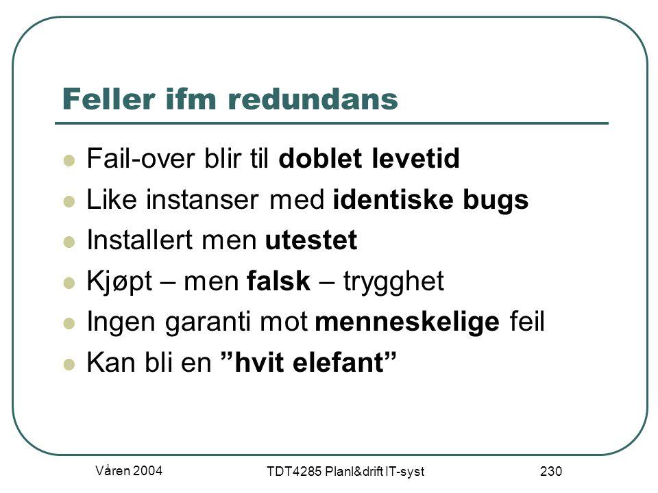 Våren 2004 TDT4285 Planl&drift IT-syst 230 Feller ifm redundans Fail-over blir til doblet levetid Like instanser med identiske bugs Installert men ute
