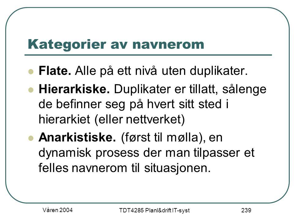 Våren 2004 TDT4285 Planl&drift IT-syst 239 Kategorier av navnerom Flate. Alle på ett nivå uten duplikater. Hierarkiske. Duplikater er tillatt, sålenge
