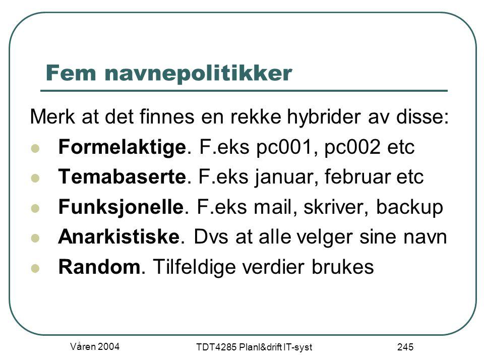 Våren 2004 TDT4285 Planl&drift IT-syst 245 Fem navnepolitikker Merk at det finnes en rekke hybrider av disse: Formelaktige. F.eks pc001, pc002 etc Tem