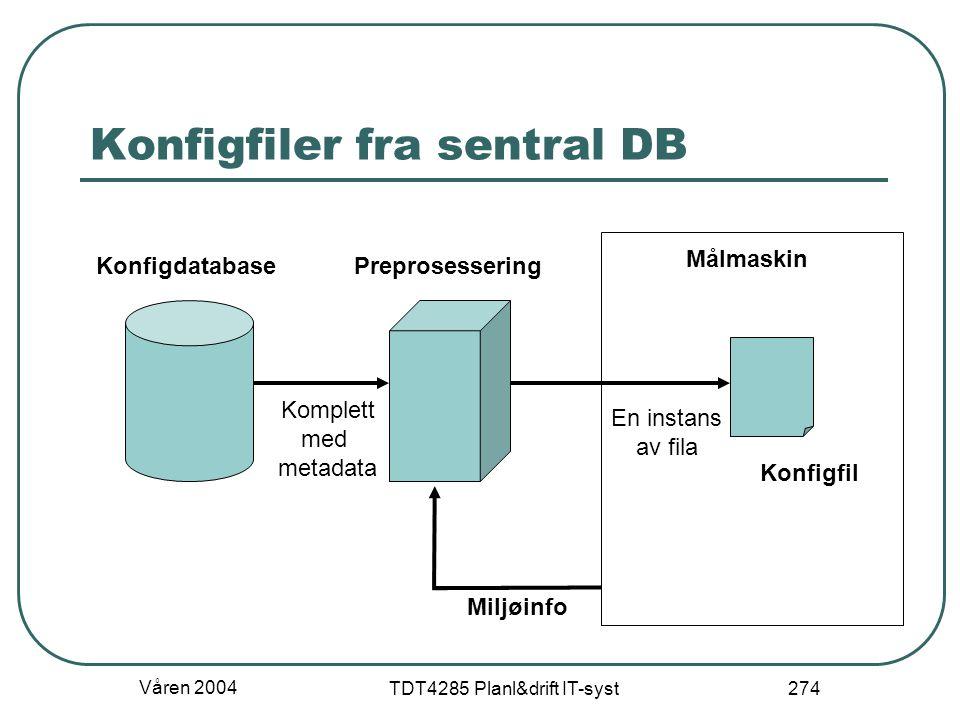 Våren 2004 TDT4285 Planl&drift IT-syst 274 Konfigfiler fra sentral DB Målmaskin Miljøinfo Konfigfil PreprosesseringKonfigdatabase Komplett med metadat
