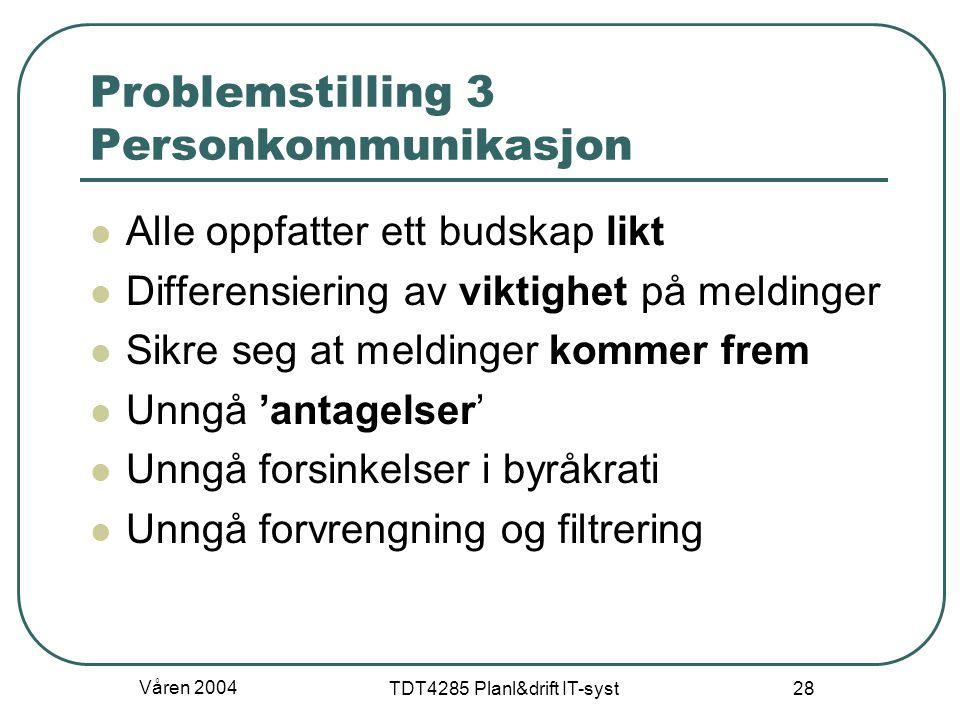 Våren 2004 TDT4285 Planl&drift IT-syst 28 Problemstilling 3 Personkommunikasjon Alle oppfatter ett budskap likt Differensiering av viktighet på meldin