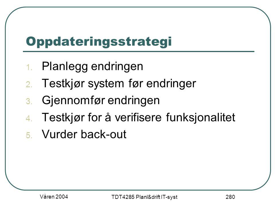 Våren 2004 TDT4285 Planl&drift IT-syst 280 Oppdateringsstrategi 1. Planlegg endringen 2. Testkjør system før endringer 3. Gjennomfør endringen 4. Test