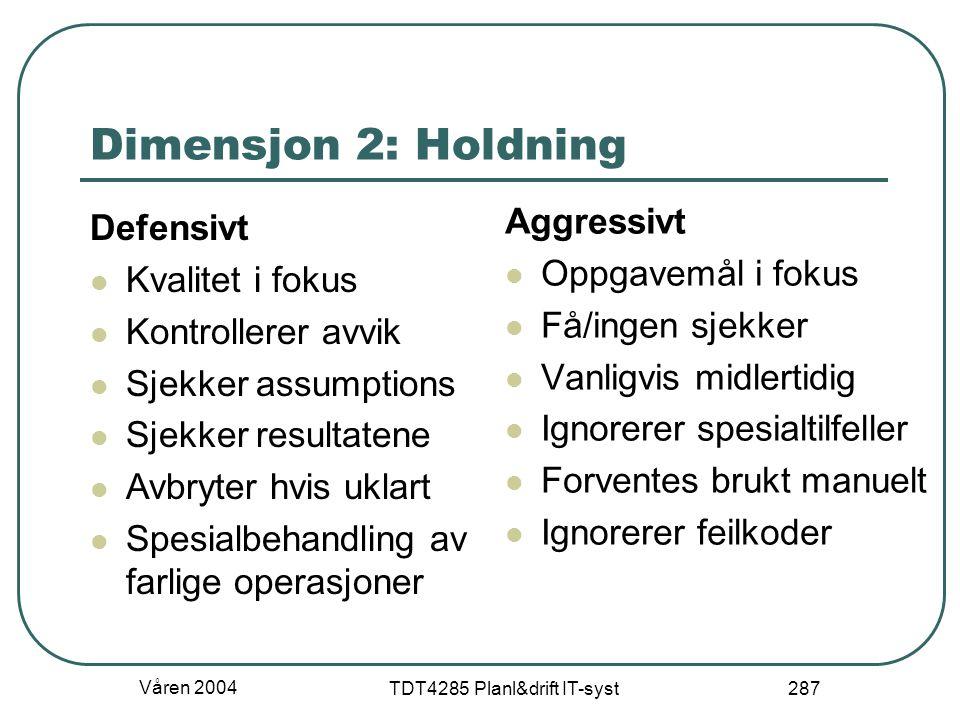 Våren 2004 TDT4285 Planl&drift IT-syst 287 Dimensjon 2: Holdning Defensivt Kvalitet i fokus Kontrollerer avvik Sjekker assumptions Sjekker resultatene
