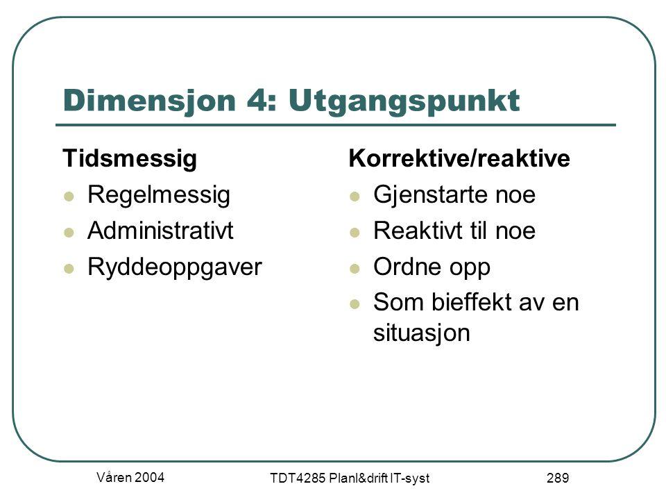 Våren 2004 TDT4285 Planl&drift IT-syst 289 Dimensjon 4: Utgangspunkt Tidsmessig Regelmessig Administrativt Ryddeoppgaver Korrektive/reaktive Gjenstart