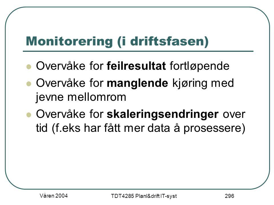 Våren 2004 TDT4285 Planl&drift IT-syst 296 Monitorering (i driftsfasen) Overvåke for feilresultat fortløpende Overvåke for manglende kjøring med jevne