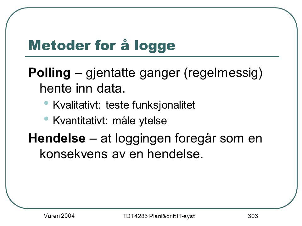 Våren 2004 TDT4285 Planl&drift IT-syst 303 Metoder for å logge Polling – gjentatte ganger (regelmessig) hente inn data. Kvalitativt: teste funksjonali