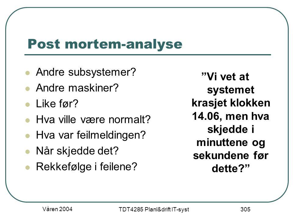 """Våren 2004 TDT4285 Planl&drift IT-syst 305 Post mortem-analyse """"Vi vet at systemet krasjet klokken 14.06, men hva skjedde i minuttene og sekundene før"""
