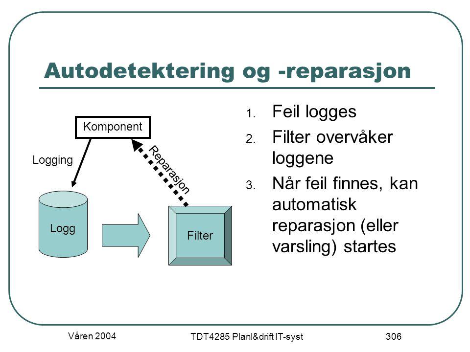 Våren 2004 TDT4285 Planl&drift IT-syst 306 Autodetektering og -reparasjon 1. Feil logges 2. Filter overvåker loggene 3. Når feil finnes, kan automatis