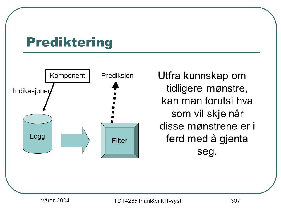 Våren 2004 TDT4285 Planl&drift IT-syst 307 Prediktering Utfra kunnskap om tidligere mønstre, kan man forutsi hva som vil skje når disse mønstrene er i