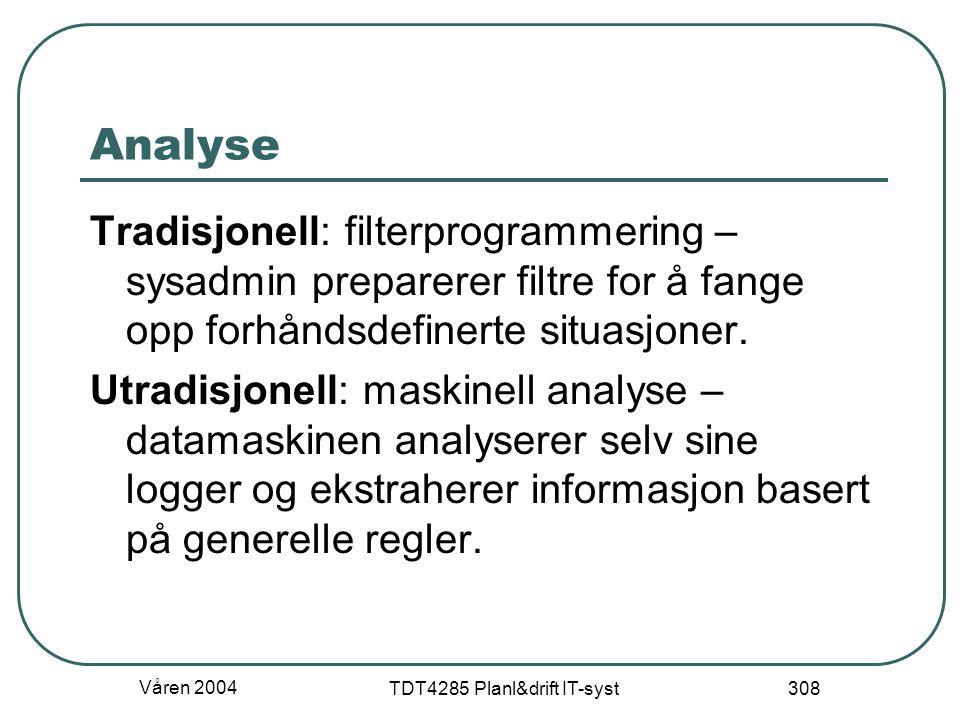 Våren 2004 TDT4285 Planl&drift IT-syst 308 Analyse Tradisjonell: filterprogrammering – sysadmin preparerer filtre for å fange opp forhåndsdefinerte si