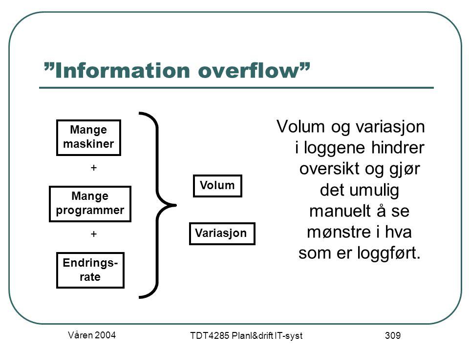 """Våren 2004 TDT4285 Planl&drift IT-syst 309 """"Information overflow"""" Volum og variasjon i loggene hindrer oversikt og gjør det umulig manuelt å se mønstr"""