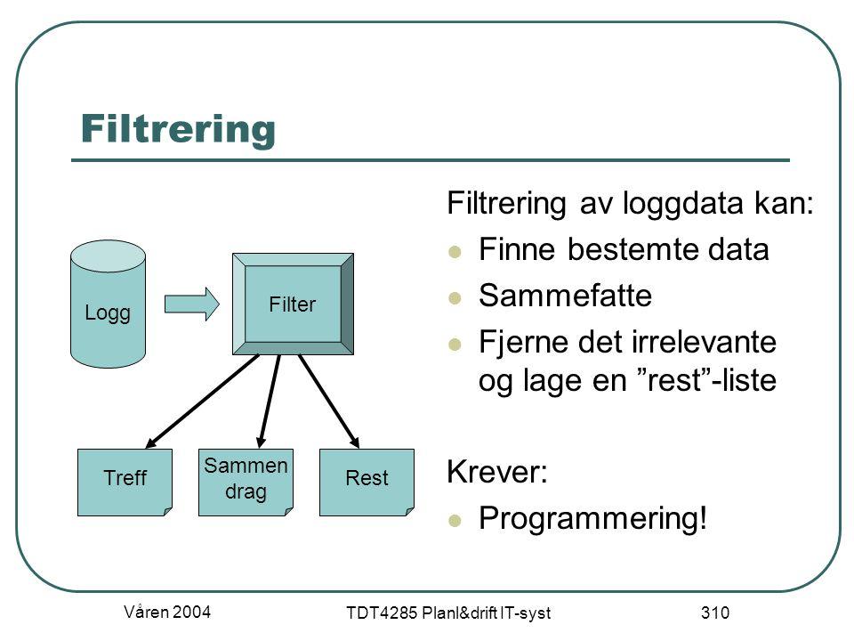 """Våren 2004 TDT4285 Planl&drift IT-syst 310 Filtrering Filtrering av loggdata kan: Finne bestemte data Sammefatte Fjerne det irrelevante og lage en """"re"""
