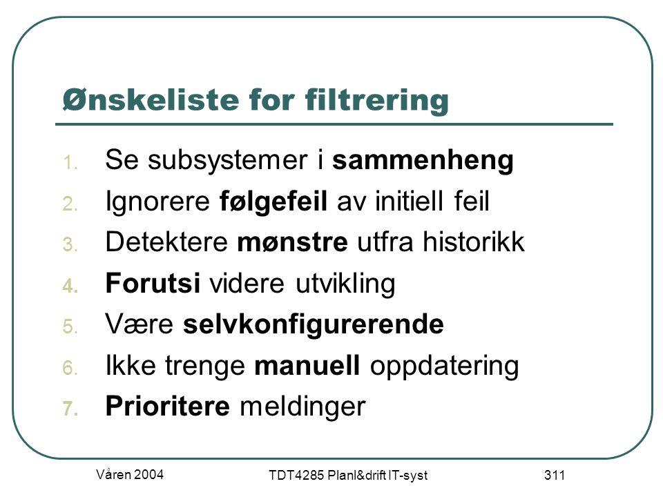 Våren 2004 TDT4285 Planl&drift IT-syst 311 Ønskeliste for filtrering 1. Se subsystemer i sammenheng 2. Ignorere følgefeil av initiell feil 3. Detekter