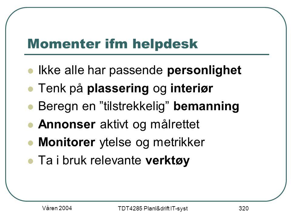 """Våren 2004 TDT4285 Planl&drift IT-syst 320 Momenter ifm helpdesk Ikke alle har passende personlighet Tenk på plassering og interiør Beregn en """"tilstre"""