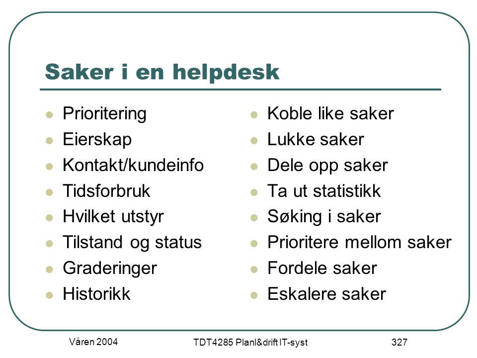 Våren 2004 TDT4285 Planl&drift IT-syst 327 Saker i en helpdesk Prioritering Eierskap Kontakt/kundeinfo Tidsforbruk Hvilket utstyr Tilstand og status G