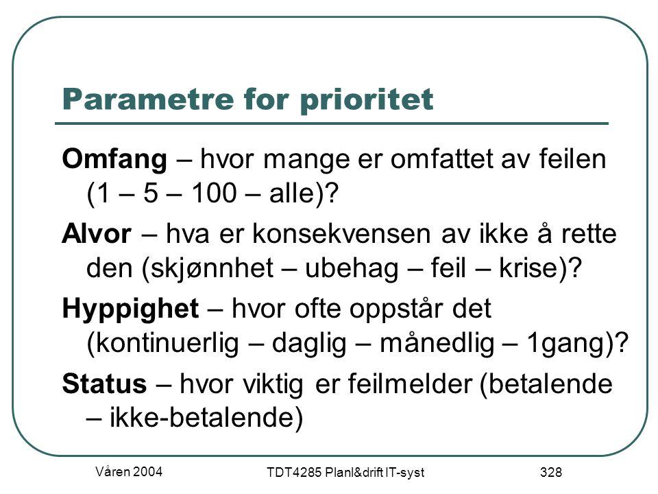 Våren 2004 TDT4285 Planl&drift IT-syst 328 Parametre for prioritet Omfang – hvor mange er omfattet av feilen (1 – 5 – 100 – alle)? Alvor – hva er kons