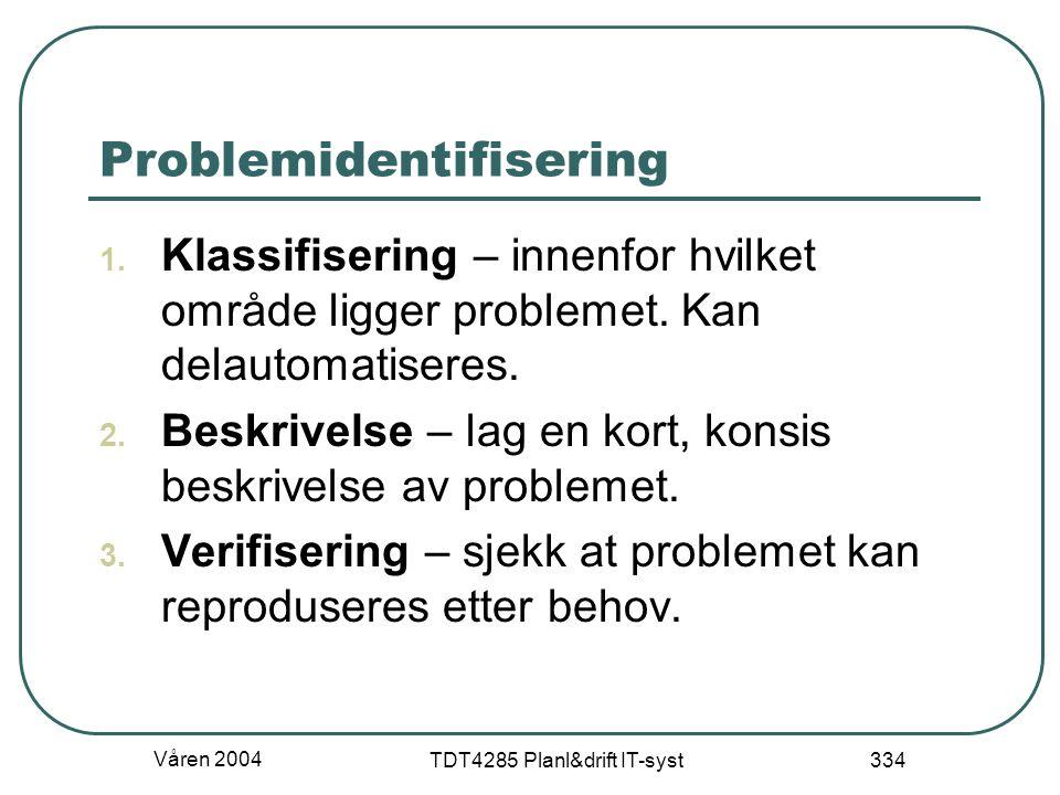 Våren 2004 TDT4285 Planl&drift IT-syst 334 Problemidentifisering 1. Klassifisering – innenfor hvilket område ligger problemet. Kan delautomatiseres. 2