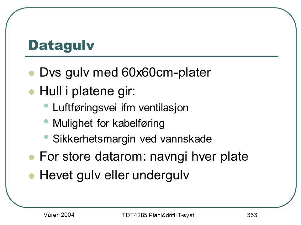 Våren 2004 TDT4285 Planl&drift IT-syst 353 Datagulv Dvs gulv med 60x60cm-plater Hull i platene gir: Luftføringsvei ifm ventilasjon Mulighet for kabelf