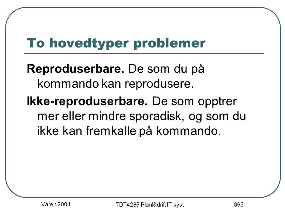 Våren 2004 TDT4285 Planl&drift IT-syst 363 To hovedtyper problemer Reproduserbare. De som du på kommando kan reprodusere. Ikke-reproduserbare. De som