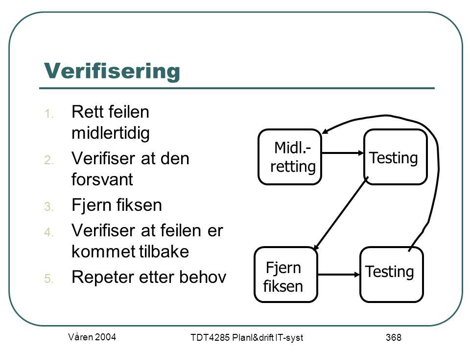 Våren 2004 TDT4285 Planl&drift IT-syst 368 Verifisering 1. Rett feilen midlertidig 2. Verifiser at den forsvant 3. Fjern fiksen 4. Verifiser at feilen