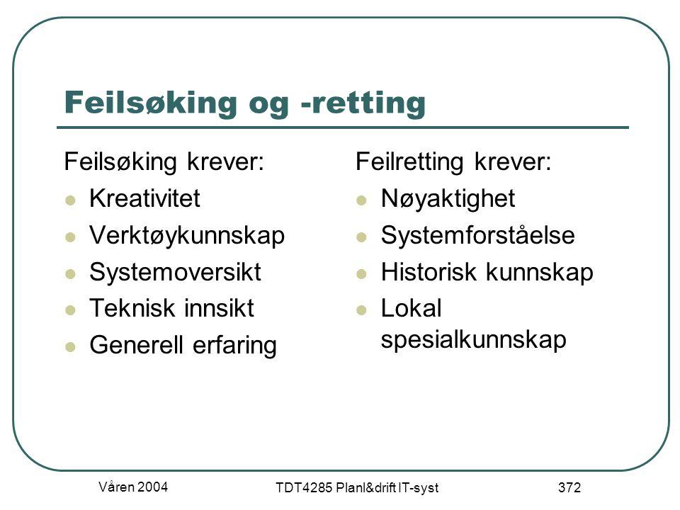 Våren 2004 TDT4285 Planl&drift IT-syst 372 Feilsøking og -retting Feilsøking krever: Kreativitet Verktøykunnskap Systemoversikt Teknisk innsikt Genere