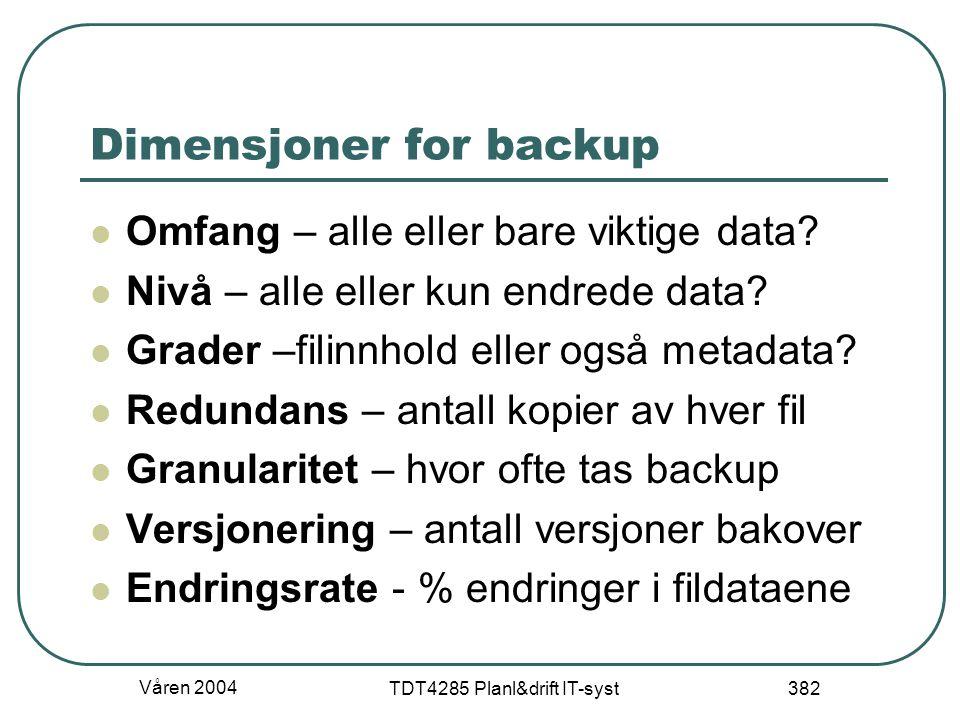 Våren 2004 TDT4285 Planl&drift IT-syst 382 Dimensjoner for backup Omfang – alle eller bare viktige data? Nivå – alle eller kun endrede data? Grader –f