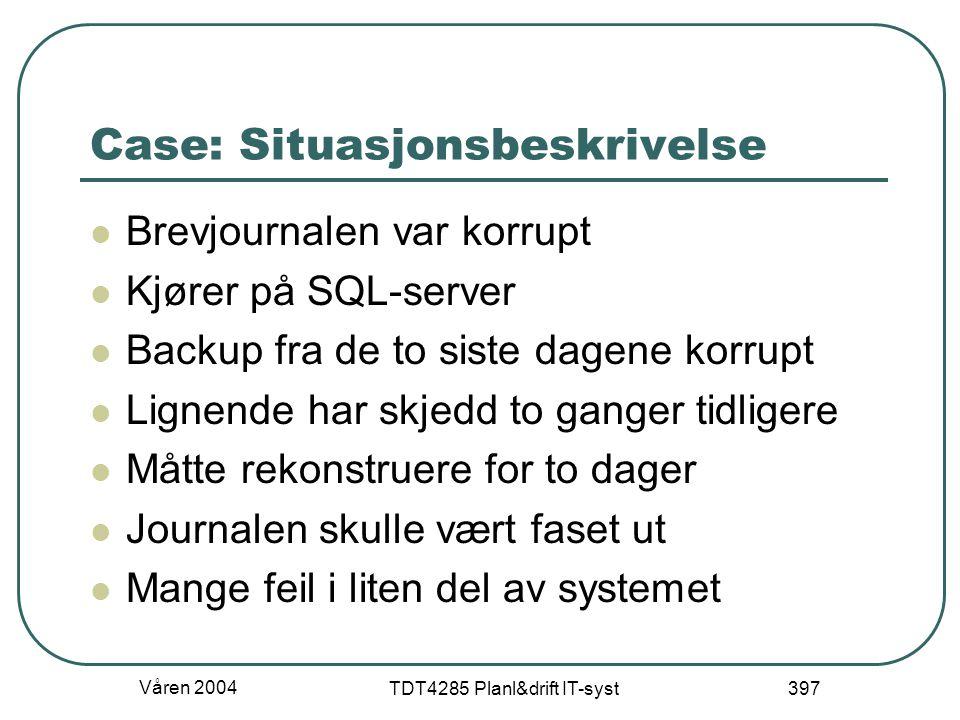 Våren 2004 TDT4285 Planl&drift IT-syst 397 Case: Situasjonsbeskrivelse Brevjournalen var korrupt Kjører på SQL-server Backup fra de to siste dagene ko