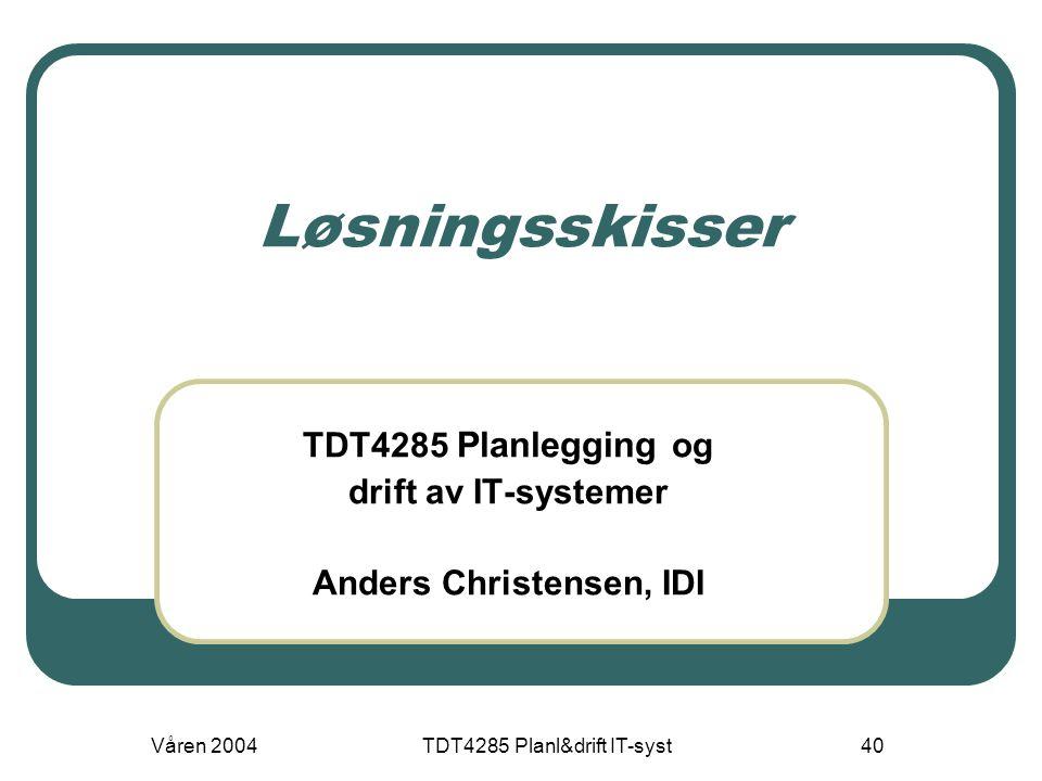 Våren 2004TDT4285 Planl&drift IT-syst40 Løsningsskisser TDT4285 Planlegging og drift av IT-systemer Anders Christensen, IDI
