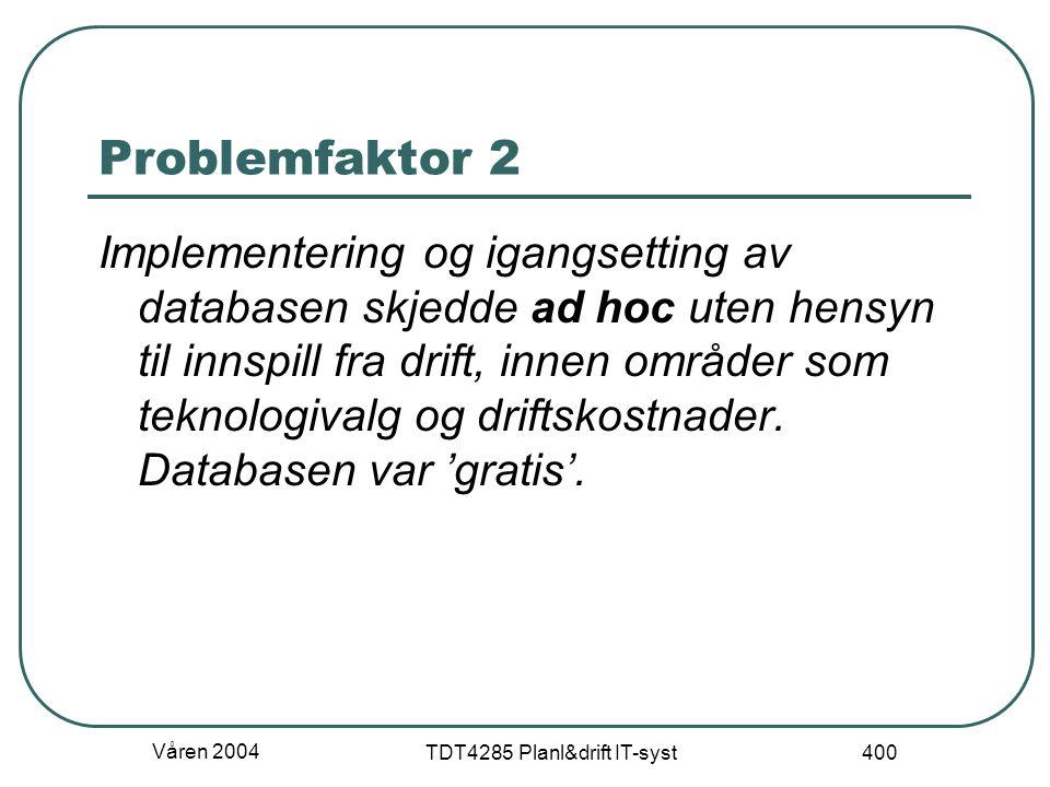 Våren 2004 TDT4285 Planl&drift IT-syst 400 Problemfaktor 2 Implementering og igangsetting av databasen skjedde ad hoc uten hensyn til innspill fra dri