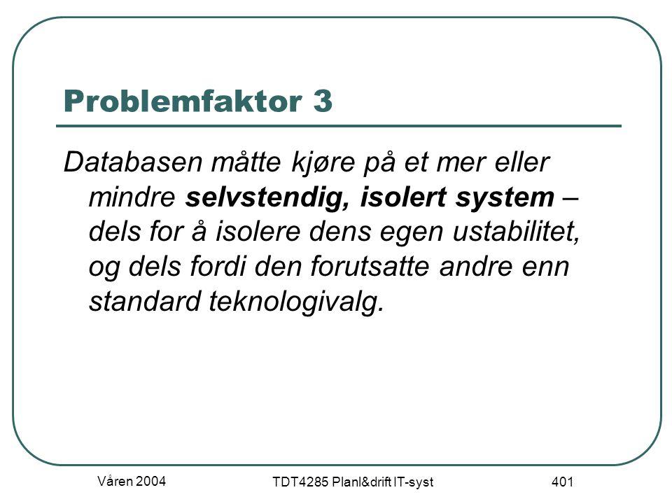 Våren 2004 TDT4285 Planl&drift IT-syst 401 Problemfaktor 3 Databasen måtte kjøre på et mer eller mindre selvstendig, isolert system – dels for å isole