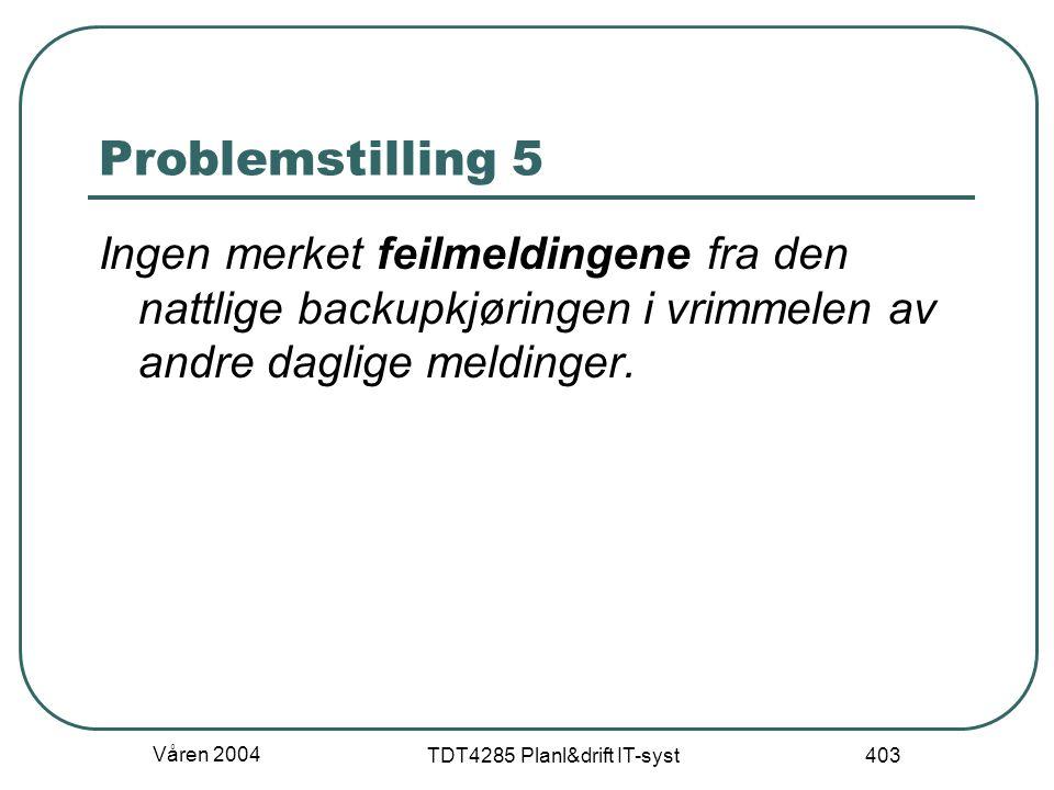 Våren 2004 TDT4285 Planl&drift IT-syst 403 Problemstilling 5 Ingen merket feilmeldingene fra den nattlige backupkjøringen i vrimmelen av andre daglige