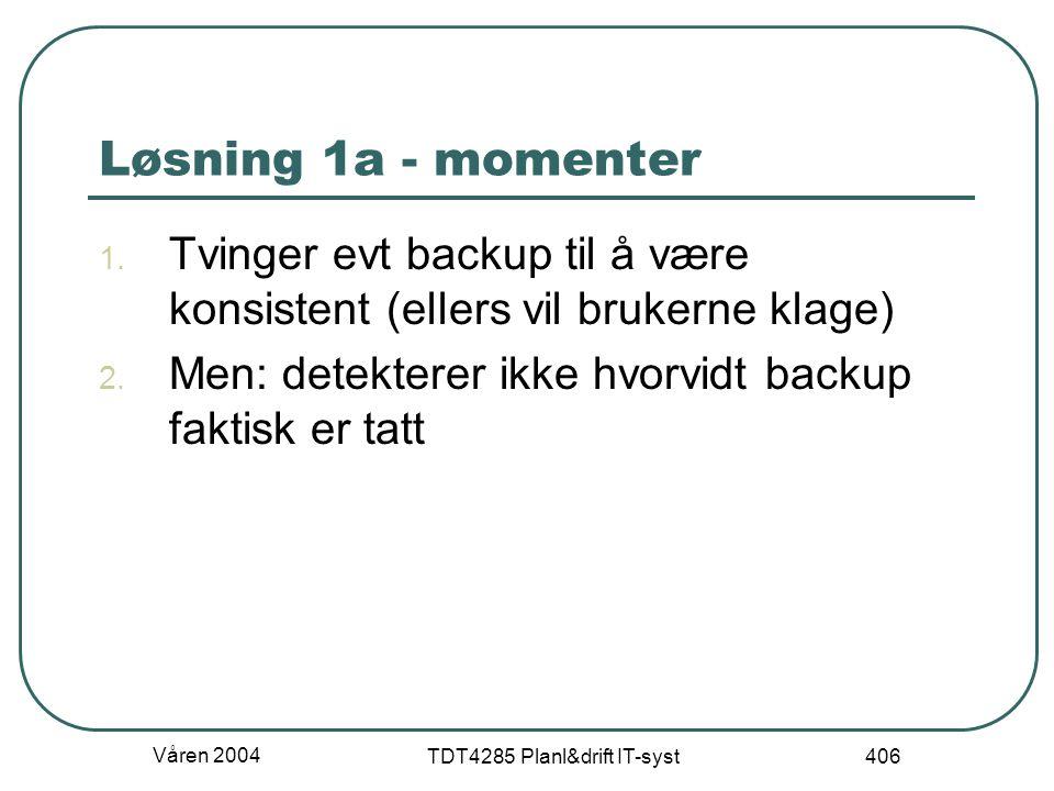 Våren 2004 TDT4285 Planl&drift IT-syst 406 Løsning 1a - momenter 1. Tvinger evt backup til å være konsistent (ellers vil brukerne klage) 2. Men: detek