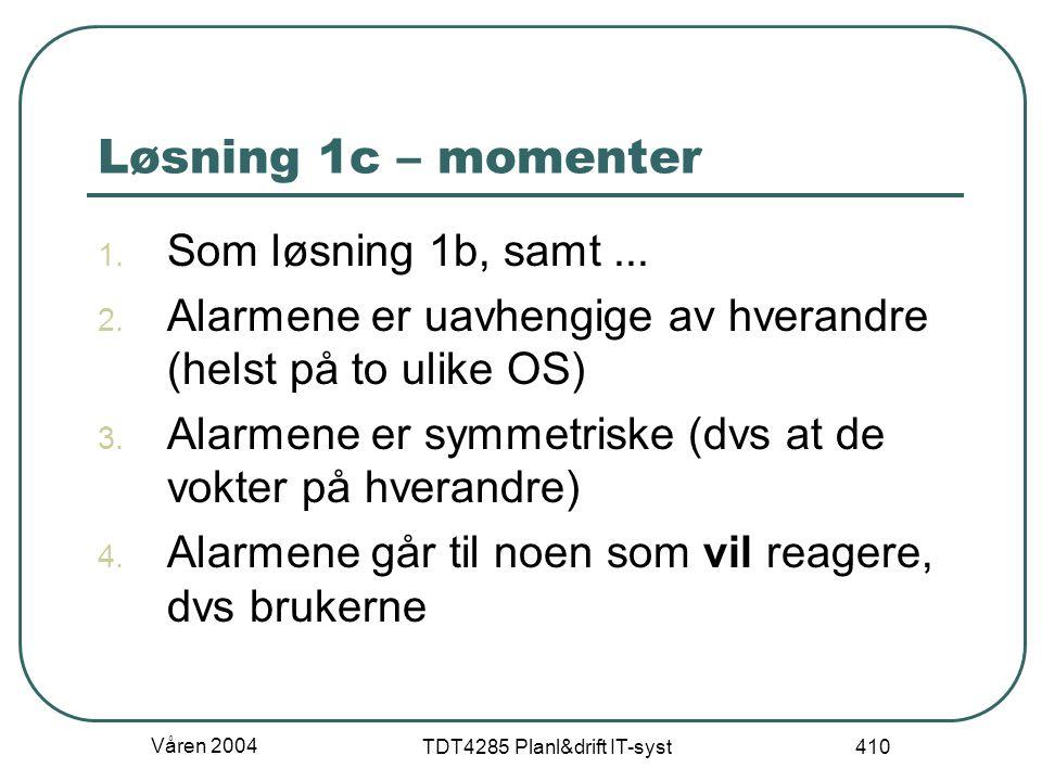 Våren 2004 TDT4285 Planl&drift IT-syst 410 Løsning 1c – momenter 1. Som løsning 1b, samt... 2. Alarmene er uavhengige av hverandre (helst på to ulike