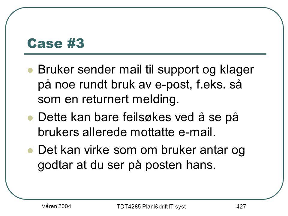 Våren 2004 TDT4285 Planl&drift IT-syst 427 Case #3 Bruker sender mail til support og klager på noe rundt bruk av e-post, f.eks. så som en returnert me