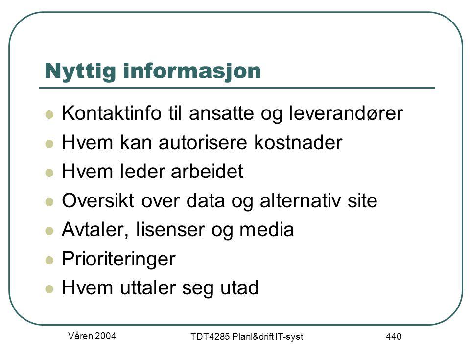 Våren 2004 TDT4285 Planl&drift IT-syst 440 Nyttig informasjon Kontaktinfo til ansatte og leverandører Hvem kan autorisere kostnader Hvem leder arbeide