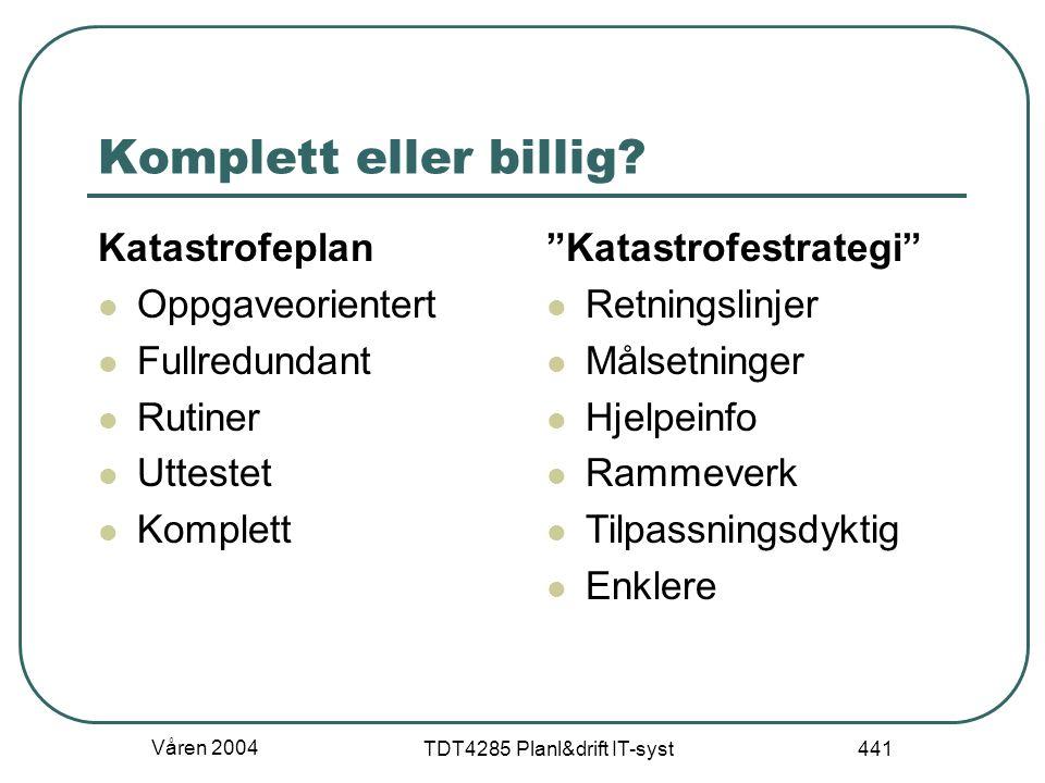 """Våren 2004 TDT4285 Planl&drift IT-syst 441 Komplett eller billig? Katastrofeplan Oppgaveorientert Fullredundant Rutiner Uttestet Komplett """"Katastrofes"""